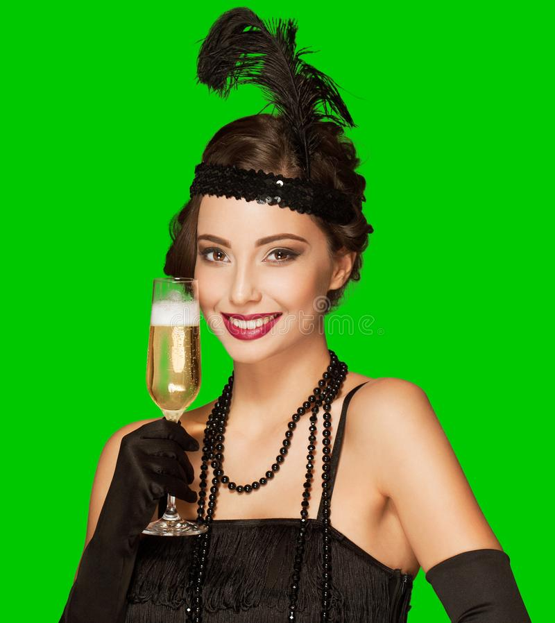 Art- DecoParty-Girl auf grünem Schirmhintergrund stockfotografie