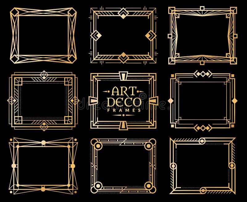 Art- DecoRahmen Gold-gatsby deco Rahmengrenze, goldene romantische Einladungslinie Muster zwanziger Jahre Retro- Luxuskunstentwur vektor abbildung