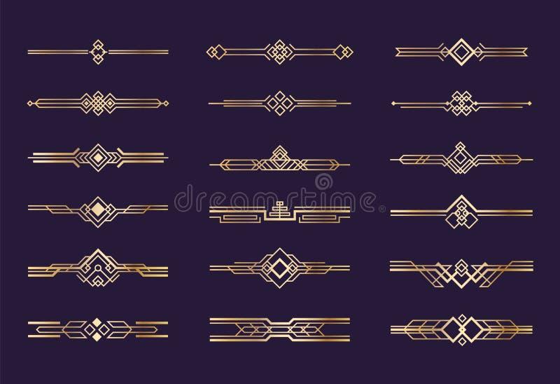 Art DecoVerzierung zwanziger Jahre Weinlese-Goldgrenzen und Teiler, grafische Elemente des Retro- Titels, nouveau Vektor geometri vektor abbildung