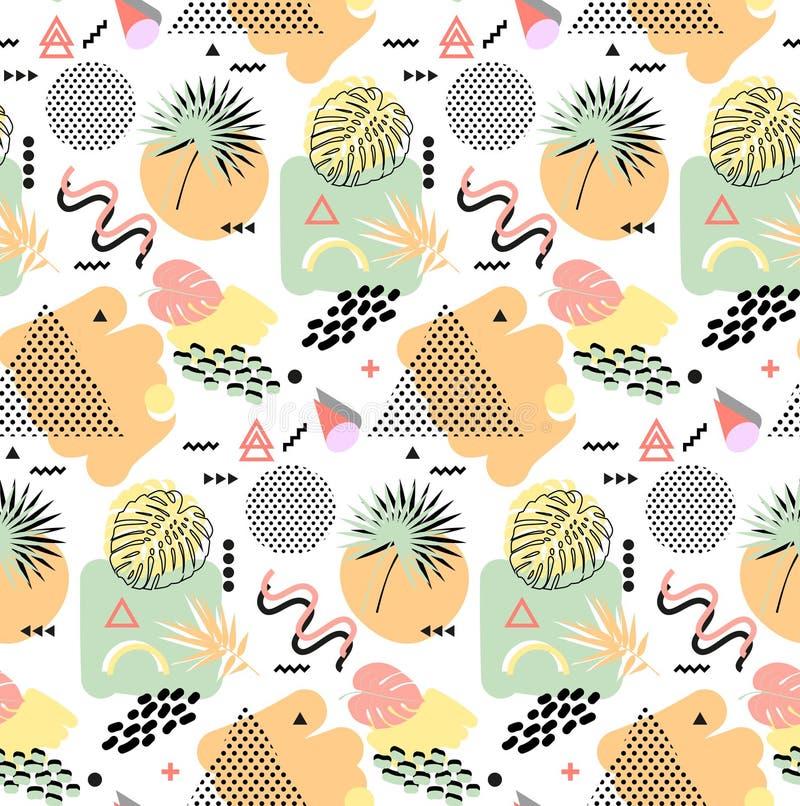 Art der Retro- Weinlesemode 80s oder 90s Nahtloses Muster Memphis Modische geometrische Elemente Moderne abstrakte Auslegung vektor abbildung