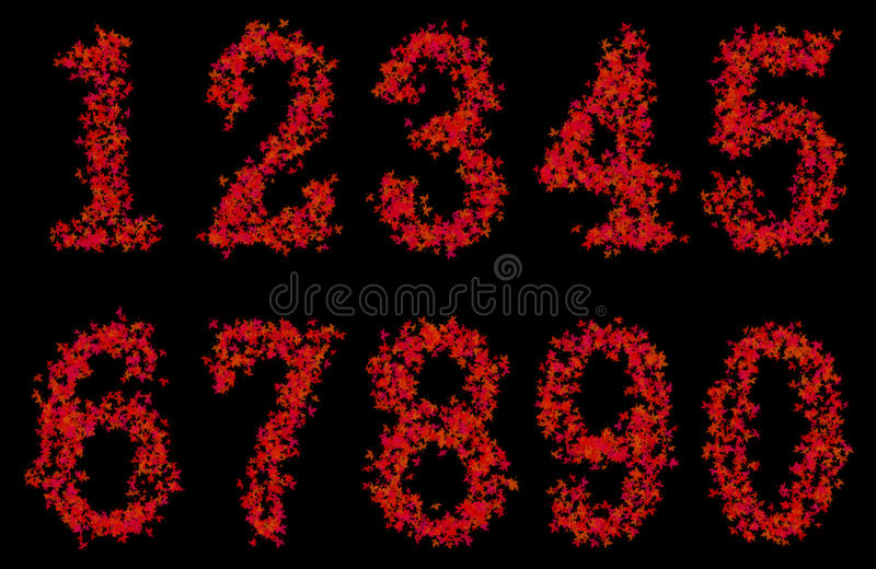 Art design arabic numerals fonts from maple leaf