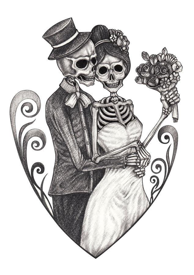 Art Couple Wedding Skull. stock illustration