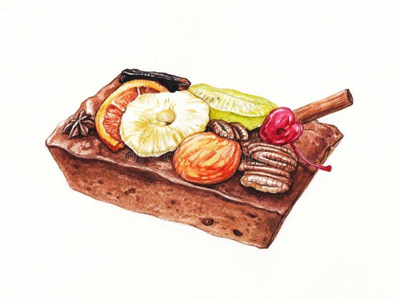 Dark rum Fruitcake. Art Design Dark rum Fruitcake. Hand watercolor painting on paper royalty free illustration