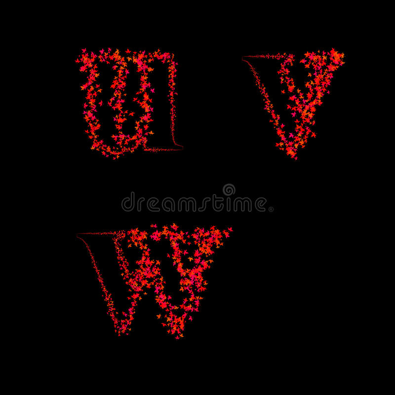 Download Art Design Fonts From Maple Leaf Lowercase Uvw Stock Photo - Illustration: 38276894