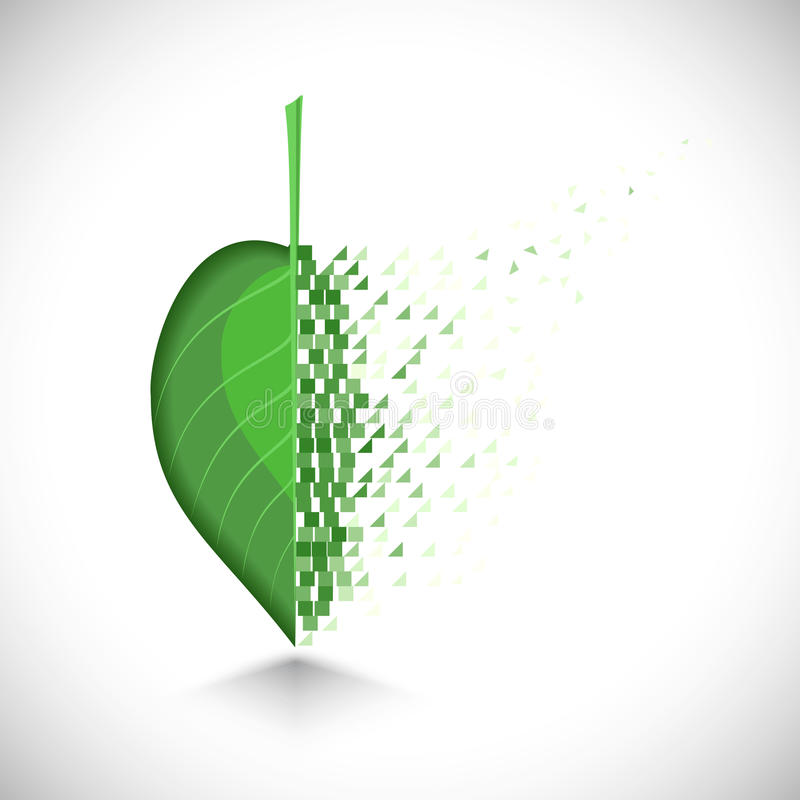 Art design a leaf with the collapsing structure stock illustration