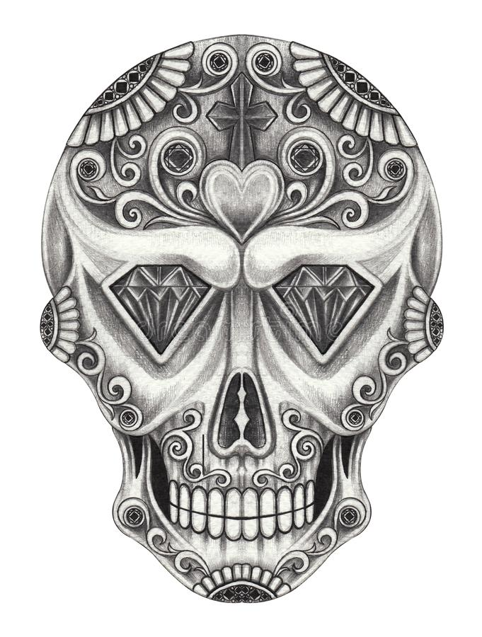 Day Of The Dead Hand Tattoo: Art Sugar Skull Day Of The Dead. Hand Pencil Drawing On
