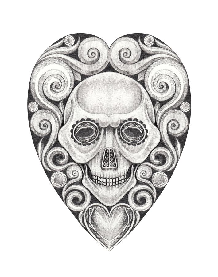 Art Vintage Heart mix Skull Tattoo. Art Design Vintage Heart mix Skull Tattoo.Hand pencil drawing on paper stock photography
