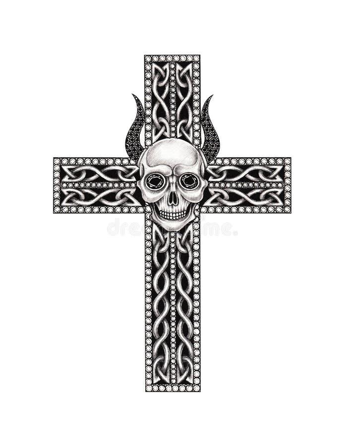 Art Devil Skull Cross Jewelry ilustração do vetor