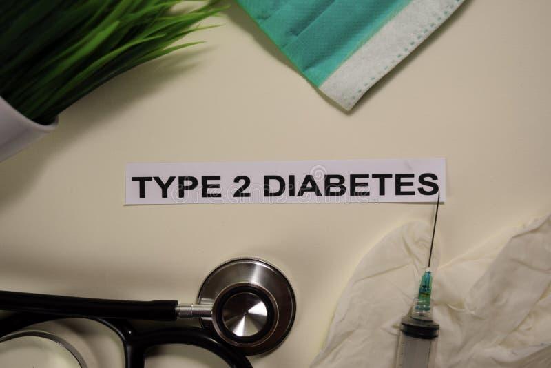 Art - Diabetes 2 mit Inspiration und Gesundheitswesen/medizinisches Konzept auf Schreibtischhintergrund lizenzfreie stockfotografie