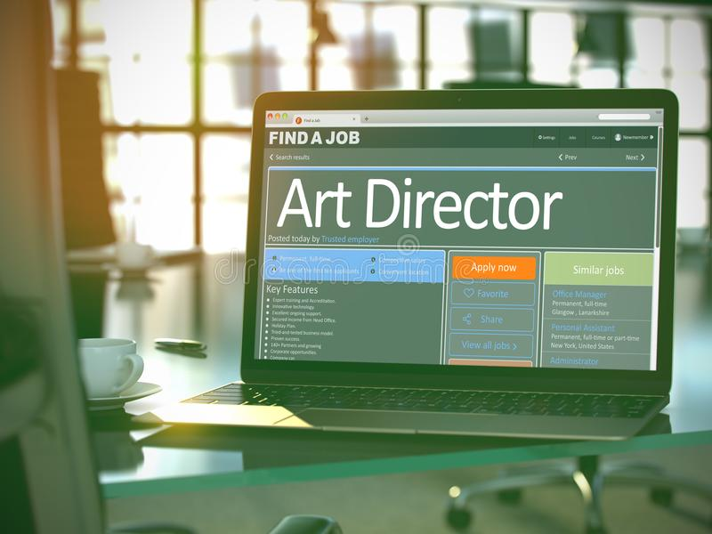 Job Opening Art Director. 3D. Art Director - Job Find Concept. Head Hunting Concept. 3D Render royalty free stock photography