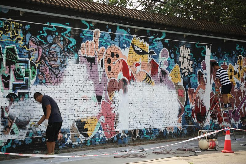 In the 798 Art District, artists are making graffiti, Beijing, China stock images