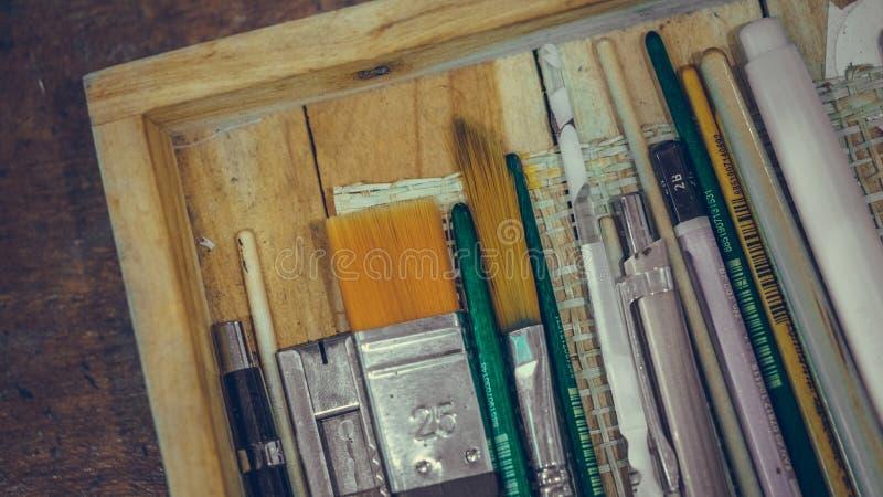 Art Drawing Brush Instrument Set royalty free stock photos
