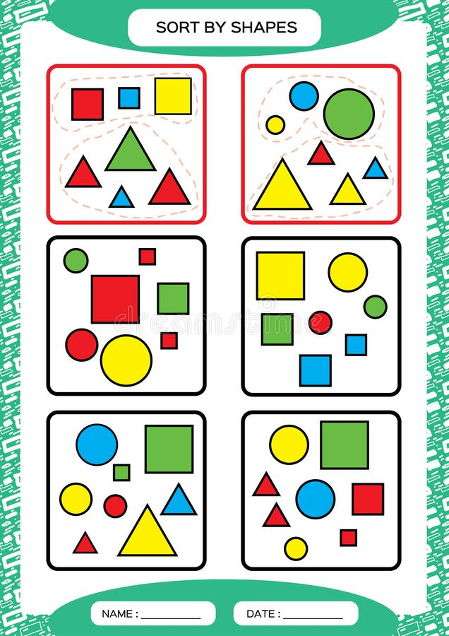 Art durch Formen Sortieren des Spiels Gruppe durch Formen - Quadrat, Kreis, Dreieck Spezieller Sortierer für Vorschulkinder bogen lizenzfreie abbildung