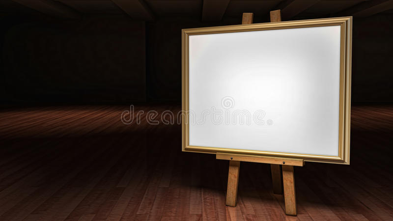 Art Easel with blank framed canvas in a darkened g. A Fine Art Easel with blank framed canvas in a darkened gallery slightly rotated at an angle vector illustration