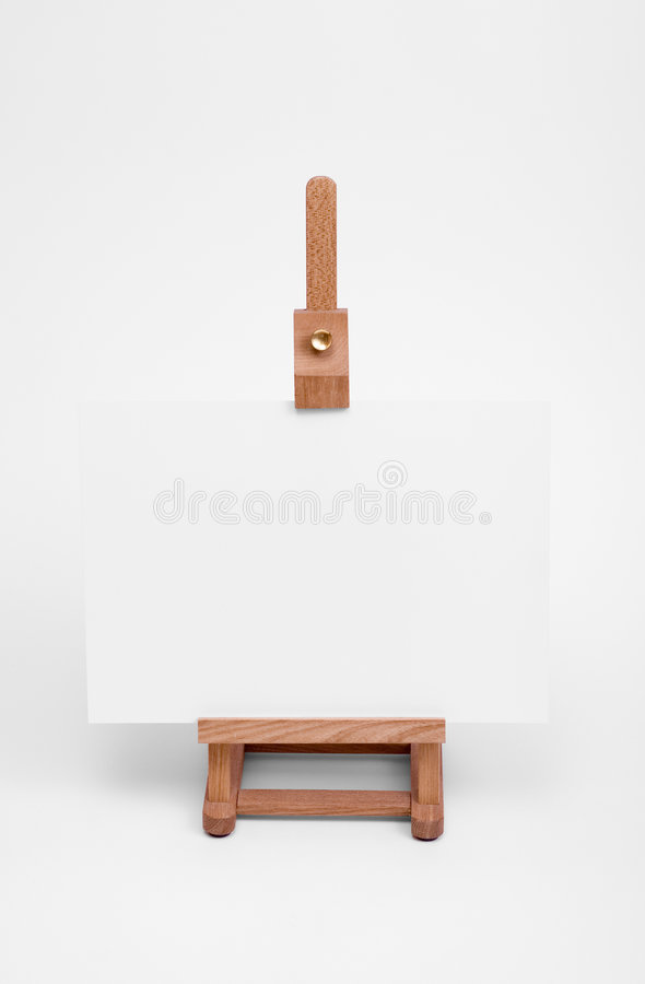 Art easel with white card. stock images