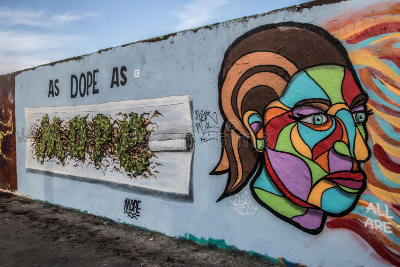 Art at East side of Berlin Wall, Berliner Mauer, Berlin royalty free stock photos