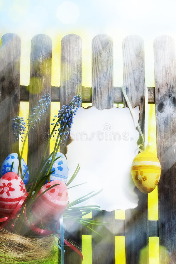 Download Art Easter Background With Fence, Eggs, Spring Flowers, Blank Ca Stock Image - Image: 28751433