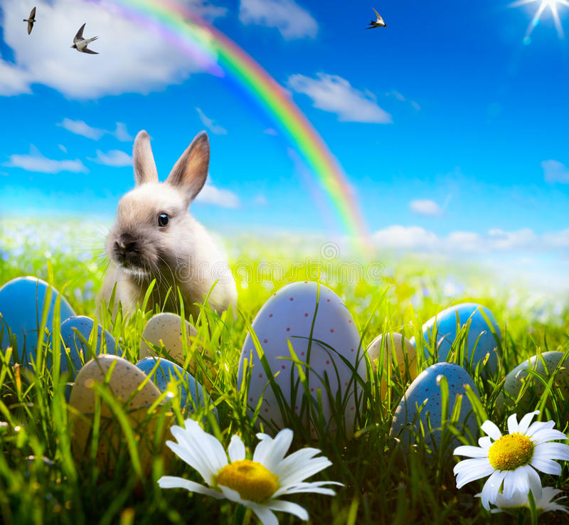 Art easter bunny and easter egg on spring field royalty free stock image