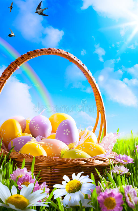 Free Art Easter Eggs On Basket Royalty Free Stock Photography - 38310217