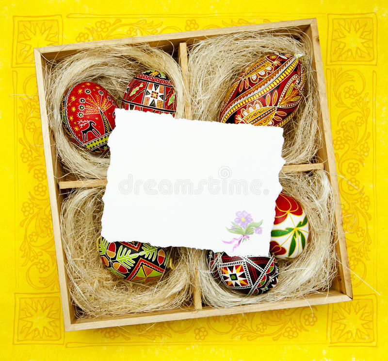 Art Easter greeting card with Traditional Easter d stock photos