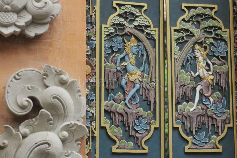 Art en bois traditionnel de Balinese images libres de droits