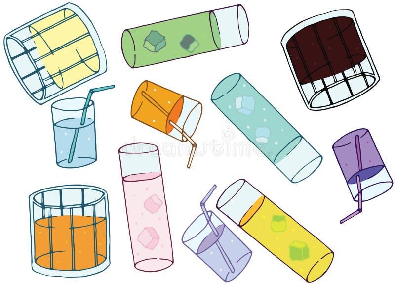 Art en verre d'aspiration de main de griffonnage d'ensemble d'été de café de couleur de bande dessinée illustration stock