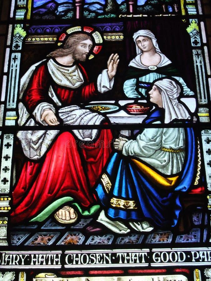 Art en verre souillé de la cathédrale de St Andrew images libres de droits