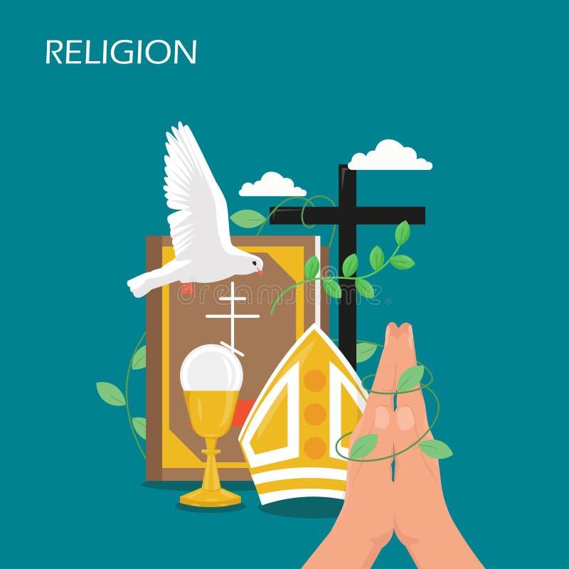 Art-Entwurfsillustration des Christentumsreligionsvektors flache lizenzfreie abbildung