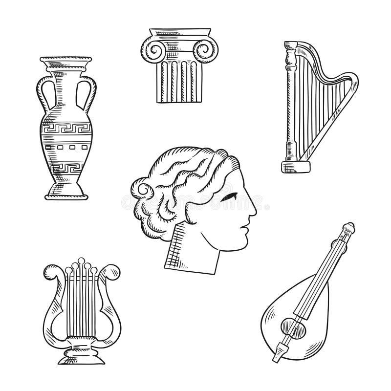 Art et croquis d'instruments de musique illustration de vecteur