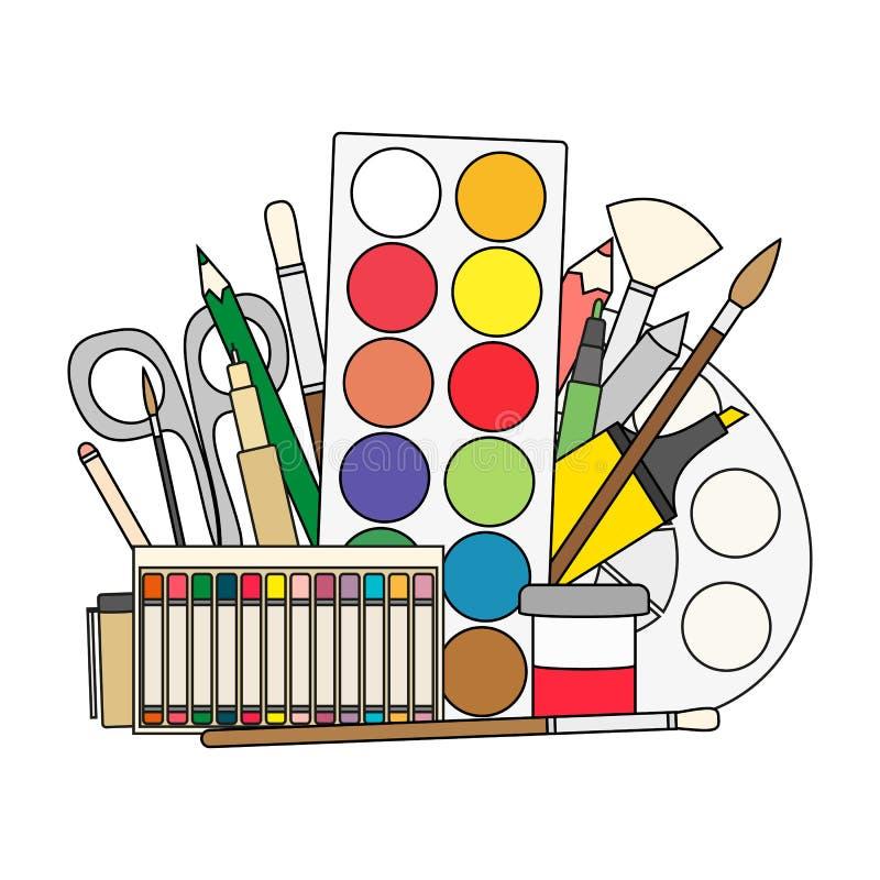 Art et de nouveau aux pinceaux d'approvisionnements d'école, crayons, peinture, revêtements illustration stock