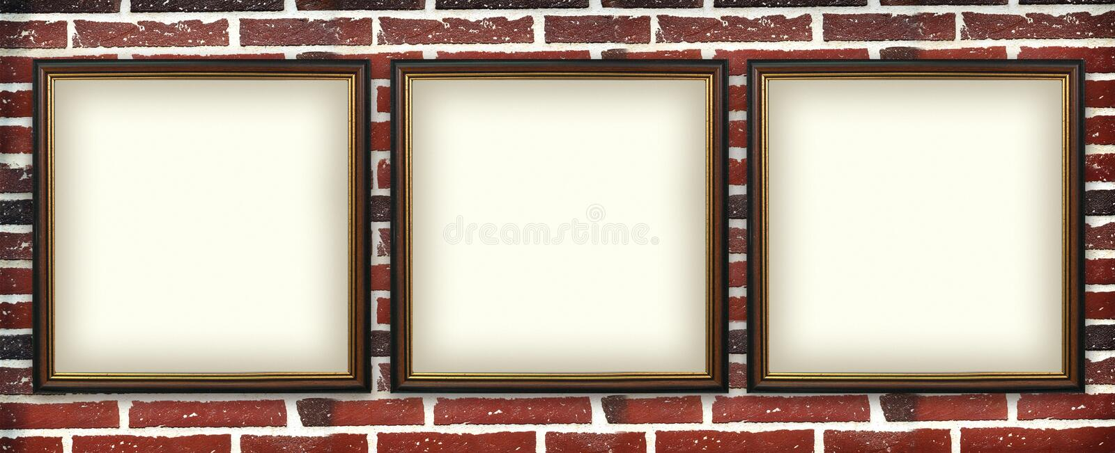 Art exhibition. Art photo frame on a brick wall. urban exhibition royalty free stock photography