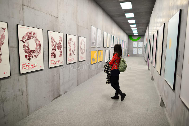 Art exhibition. HONG KONG - FEBRUARY 04, 2015: art exhibition in Hong Kong Heritage Museum. Hong Kong Heritage Museum is a museum of history, art and culture in royalty free stock photos