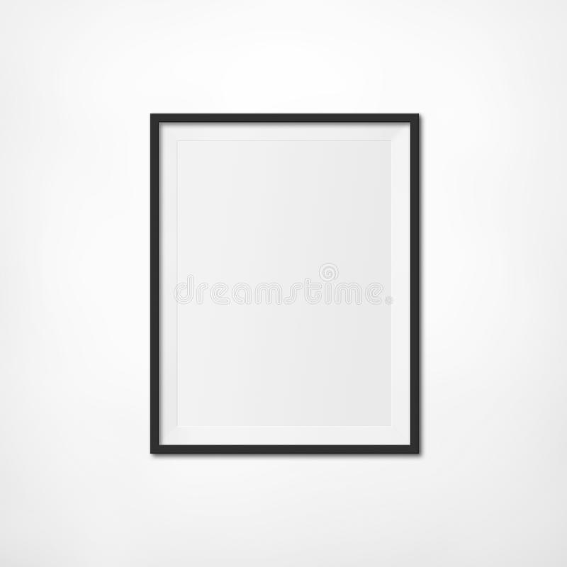 Art Exhibition Photo Frame. Art Exhibition Concept. Blank Photo Frame on a white Wall. Put your own image inside stock photography