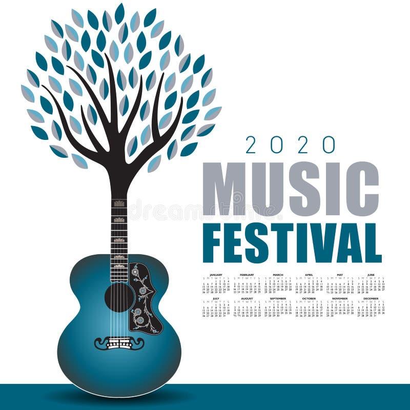 Art extérieur de festival de musique 2020 avec un calendrier illustration de vecteur