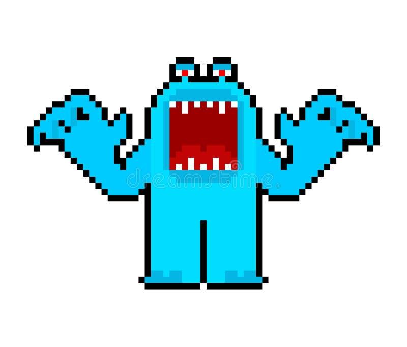 Art fâché de pixel de monstre de bande dessinée avec la bouche ouverte Bit du vecteur 8 illustration libre de droits
