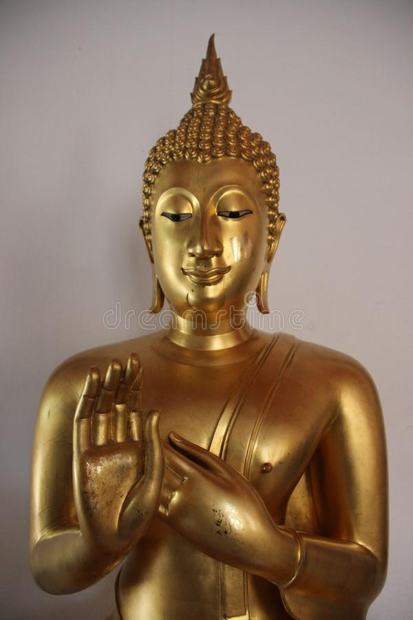 Art And Faith One Golden Buddha In Buddhist Temple stock photo