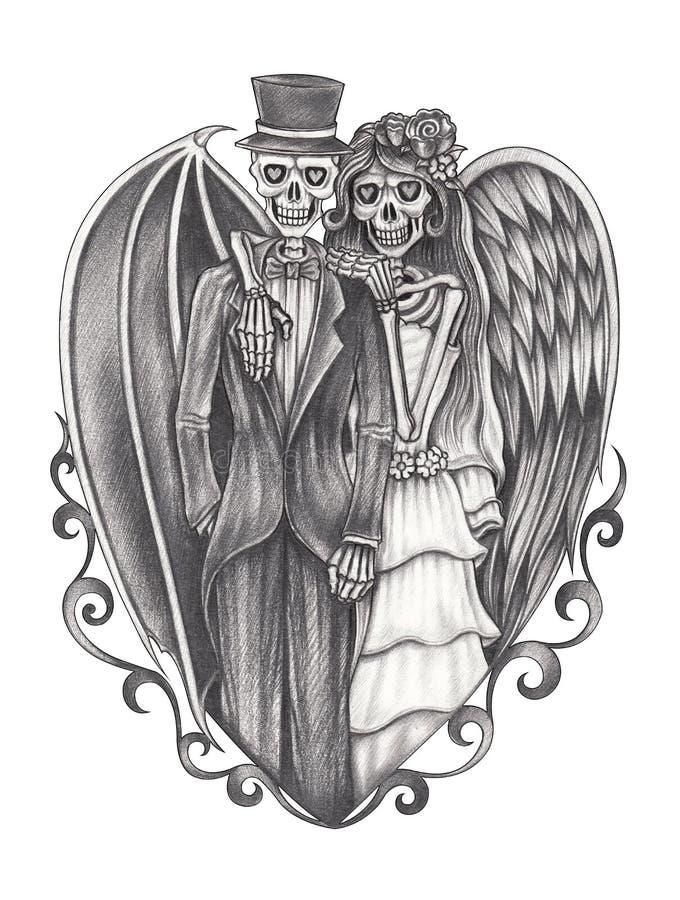 Art fantasy wedding skull. stock illustration