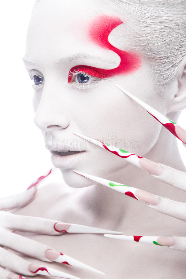 Art fashion girl with long color nails, white skin royalty free stock images
