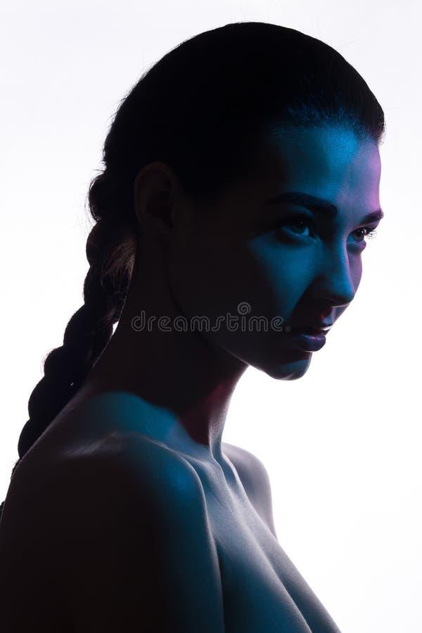 Fashion art studio photo of elegant naked lady stock image