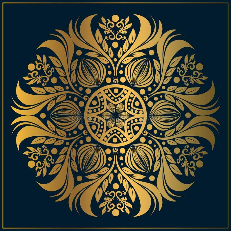 Art floral de luxe de mandala ornemental Art de mandala d'or de cru avec des motifs floraux circulaires illustration stock