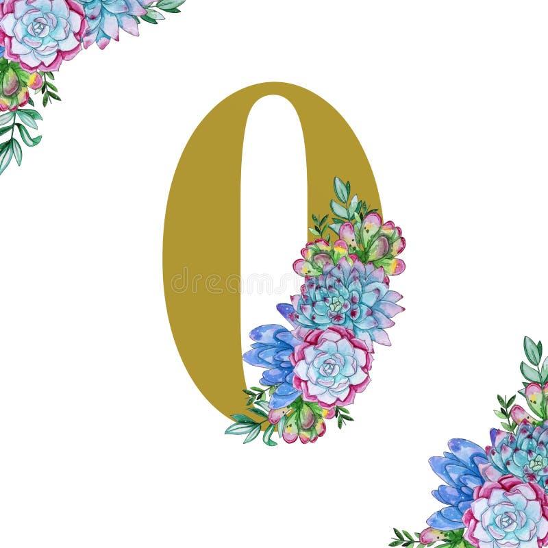 Art floral de nombres d'aquarelle sur le fond blanc illustration stock