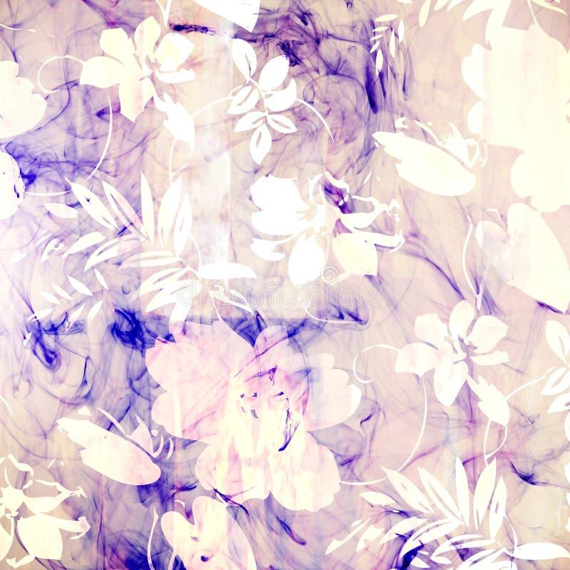Art floral grunge background pattern. Art floral grunge background blue pattern