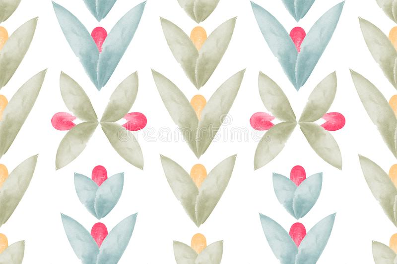 Art floral vector seamless pattern. Naive art. Scandinavian style. royalty free illustration