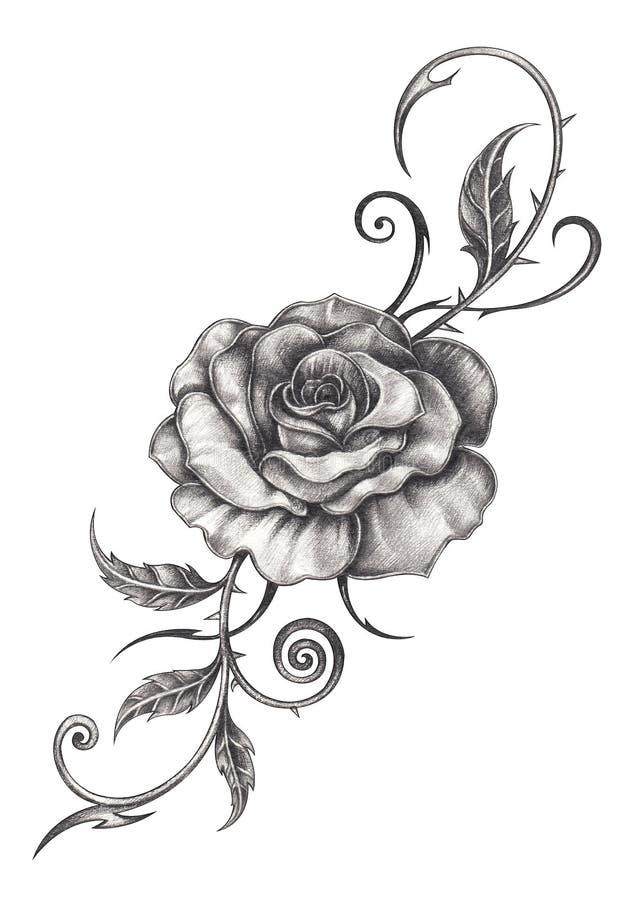 Flower Tattoo Artist Tattooist Flower 타투이스트: Art Flower Rose Tattoo. Stock Illustration. Illustration