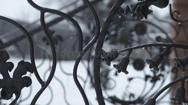 Art forging elements and iron fence. Rough Metal Curly Decorative Elements . Vintage decor Elements. Fence Design. Vintage. Beautiful Fence Design Closeup stock photos