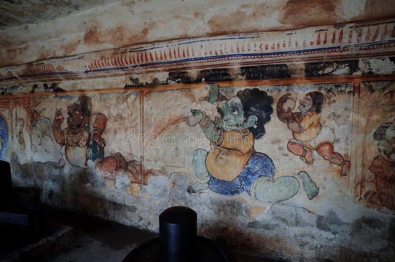 Art found on the architecture in ancient Hinduism temple in Thanjavur,  India. Art found on the architecture in ancient Hinduism temple, Thanjavur,  India stock photo