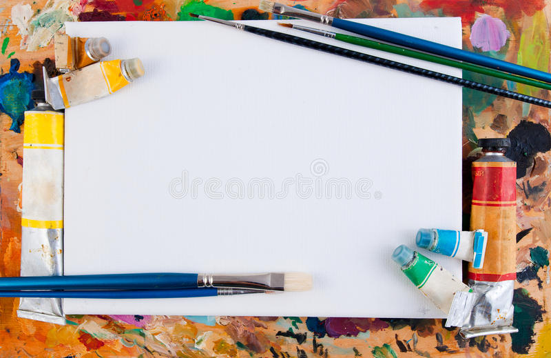 Art frame. On a paint background stock image