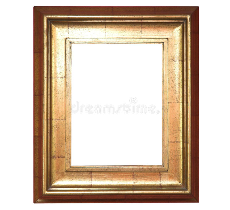 Art frame. Opulent wide gold picture frame ready to place your image in stock photos