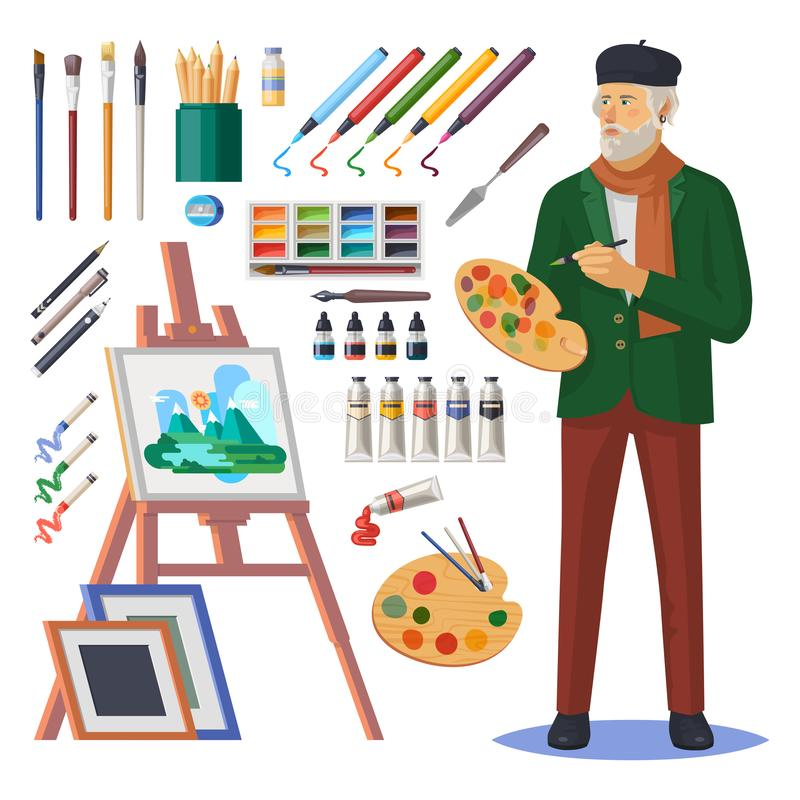 Art frenchman or artist man, painter with paint royalty free illustration