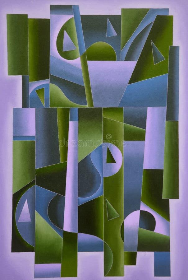 Art géométrique de Digital pourpre et vert illustration de vecteur